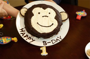 I make the monkey cake for Cooper.